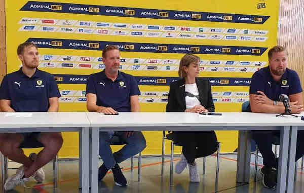 Rhein-Neckar Löwen - PK Saison Eröffnung 2020/2021 Handball Bundesliga - Albin Lagergren, Martin Schwalb, Jennifer Kettemann und Oliver Roggisch (v.l.) - Foto: Rolf Bernardi