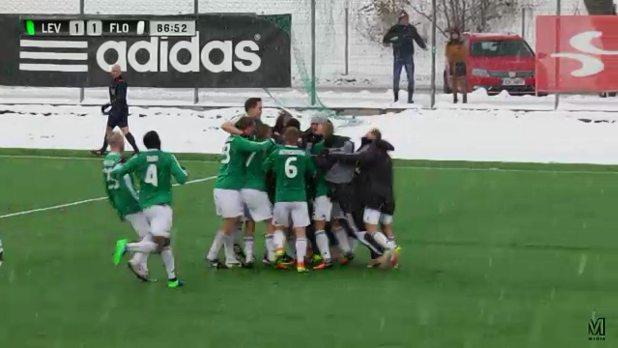 """Футболисты """"Левадии"""" празднуют важнейшний гол, который забил Кевин Каубер - 2:1!"""