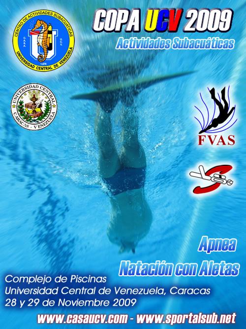 aficheweb Último día de inscripciones y listado preliminar de atletas inscritos y pruebas para la Copa UCV 2009 de Actividades Subacuáticas en Caracas, Venezuela
