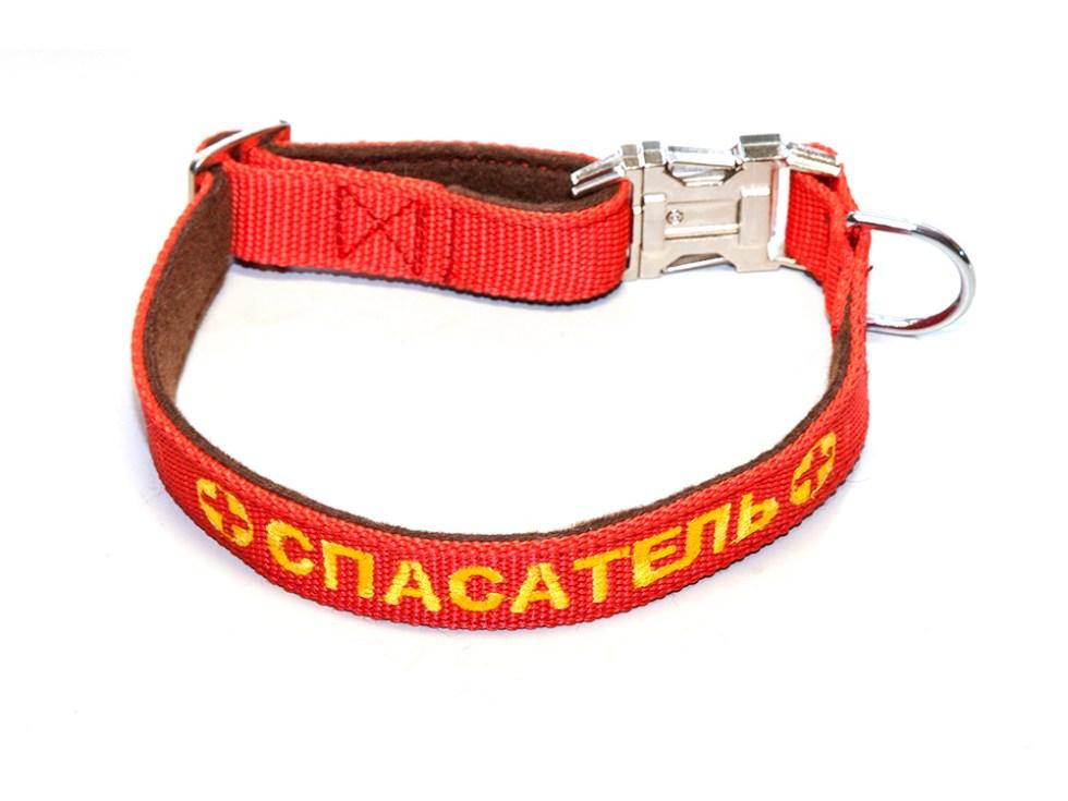 Ошейник с вышивкой 25 мм красный с фетром хром фастекс простой
