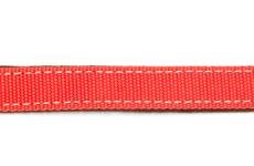 Ошейник красный текстильный шир. 25 мм подшитый фетром хром пряжка