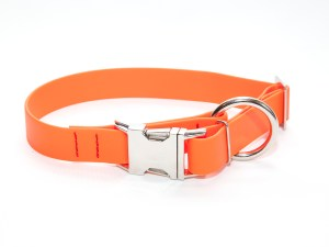 Ошейник из биотана 25 мм оранжевый большое кольцо хром фастекс