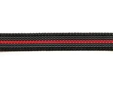 Ошейник из прорезиненной стропы 20 мм с кольцом и хром фастексом черно-красный