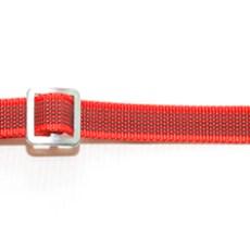 Ошейник из прорезиненной стропы 20 мм с кольцом и хром фастексом красный