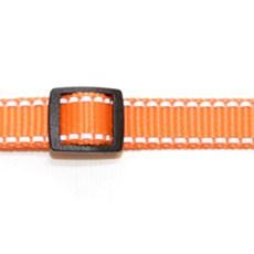 Ошейник шир. 20 мм оранжевый, рефлекс. полоски, пластик с фиксатором