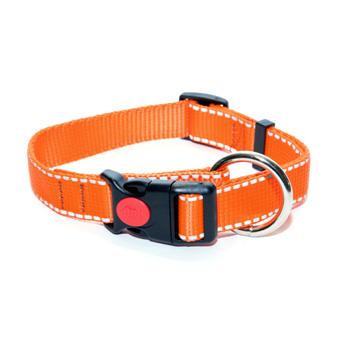 Ошейник 25 мм с большим кольцом оранжевый рефлекс полоски, пластик с фиксатором