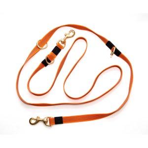 Перестежка из прорезиненной стропы оранжевая с бронзовой фурнитурой