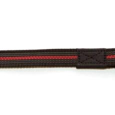 Поводок из прорезиненной стропы 20 мм красно-черный сталь