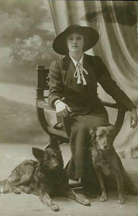 Молодая женщина с овчарками