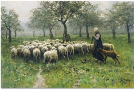 Пастух со стадом и собакой