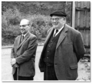 Justin Chastel, известный бельгийский заводчик бувье (влева) и Felix Verbanck (справа). Фото 1967 г.
