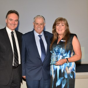 Phil Shelley Nominee Jackie Madden with Program Manager Brian Ford and Morwell Bowls Club Chairman Jeffery Sawyer