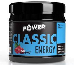 POWRD® CLASSIC ENERGY Blue Raspberry - 320g 40 Portionen – Himbeere - Gaming Energy & Pre Workout Booster Drink Pulver - für mehr Konzentration beim Gaming, Training, Lernen oder Arbeiten - 1