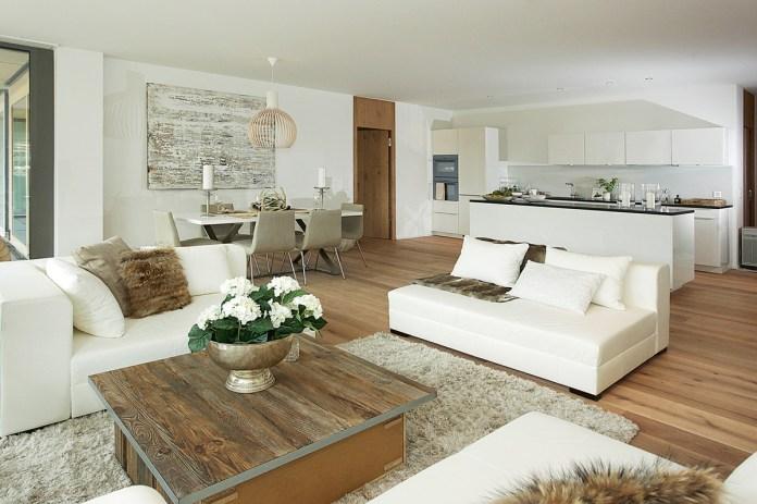 Stilli Park Davos, Musterwohnung Wohnzimmer mit offener Küche