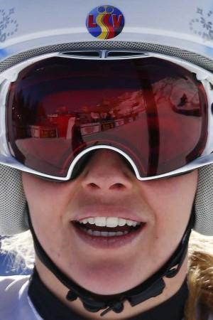 Tina Weirather, Siegerin des Super G-Renens in St. Moritz