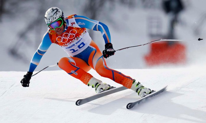 Norway's Svindal skis in the men's alpine skiing downhill race during the 2014 Sochi Winter Olympics at the Rosa Khutor Alpine Center