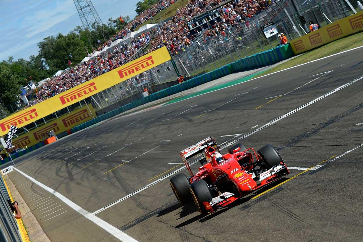 GP-Ungarn2015-Ferrari-Vettel-Ziellinie
