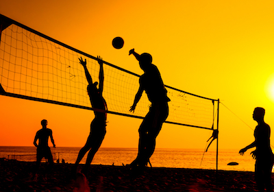 A beach volleyball is a popular sport in Thailand.