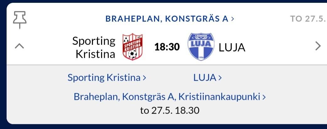 Read more about the article P12 pelaa Lujaa vastaan Brahekentällä to 27.5