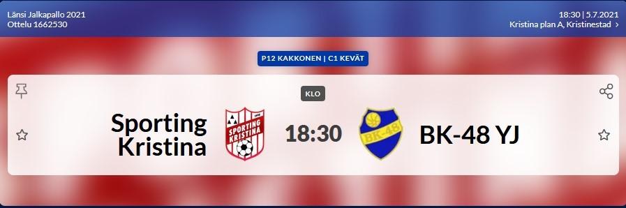 Läs mer om artikeln Sporting P12 spelar idag 5.7 på Kristinaplan kl. 18.30 Sporting – BK-48/YJ