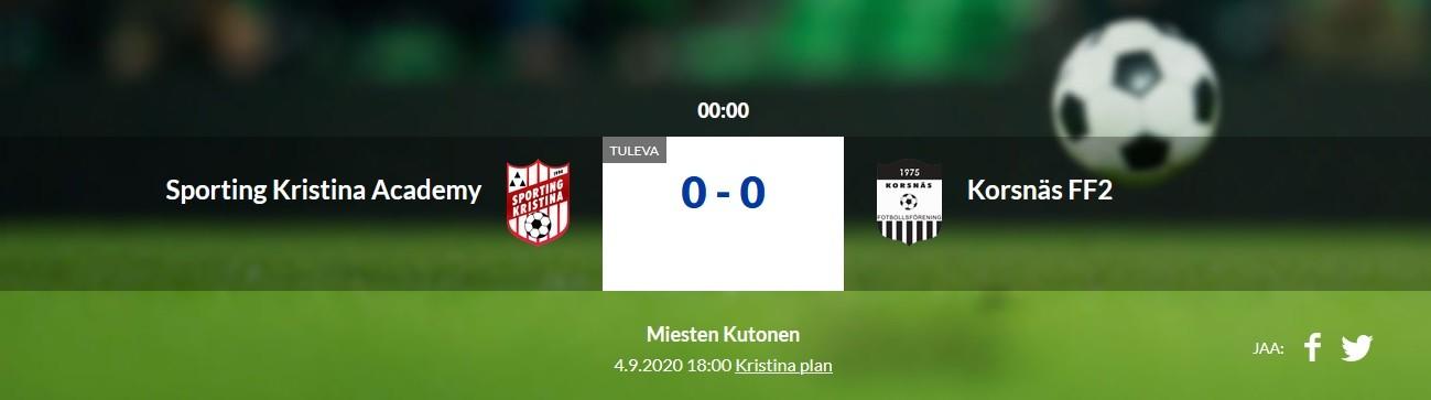 Läs mer om artikeln Sporting Kristina Academy – Korsnäs FF 2. Fredag 4.9 Kl. 18.00