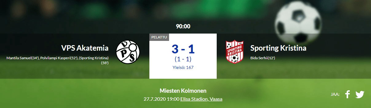 Read more about the article VPS Akatemia – Sporting Kristina 3-1 (1-1)