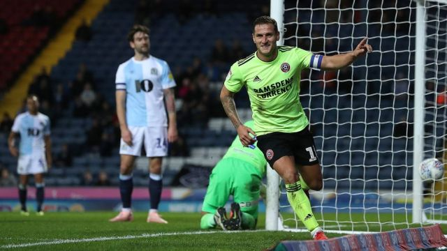 Billy Sharp celebrates after scoring away at Blackburn