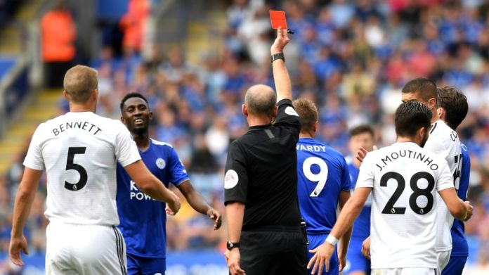 Jamie Vardy sees red for Leicester against Wolves