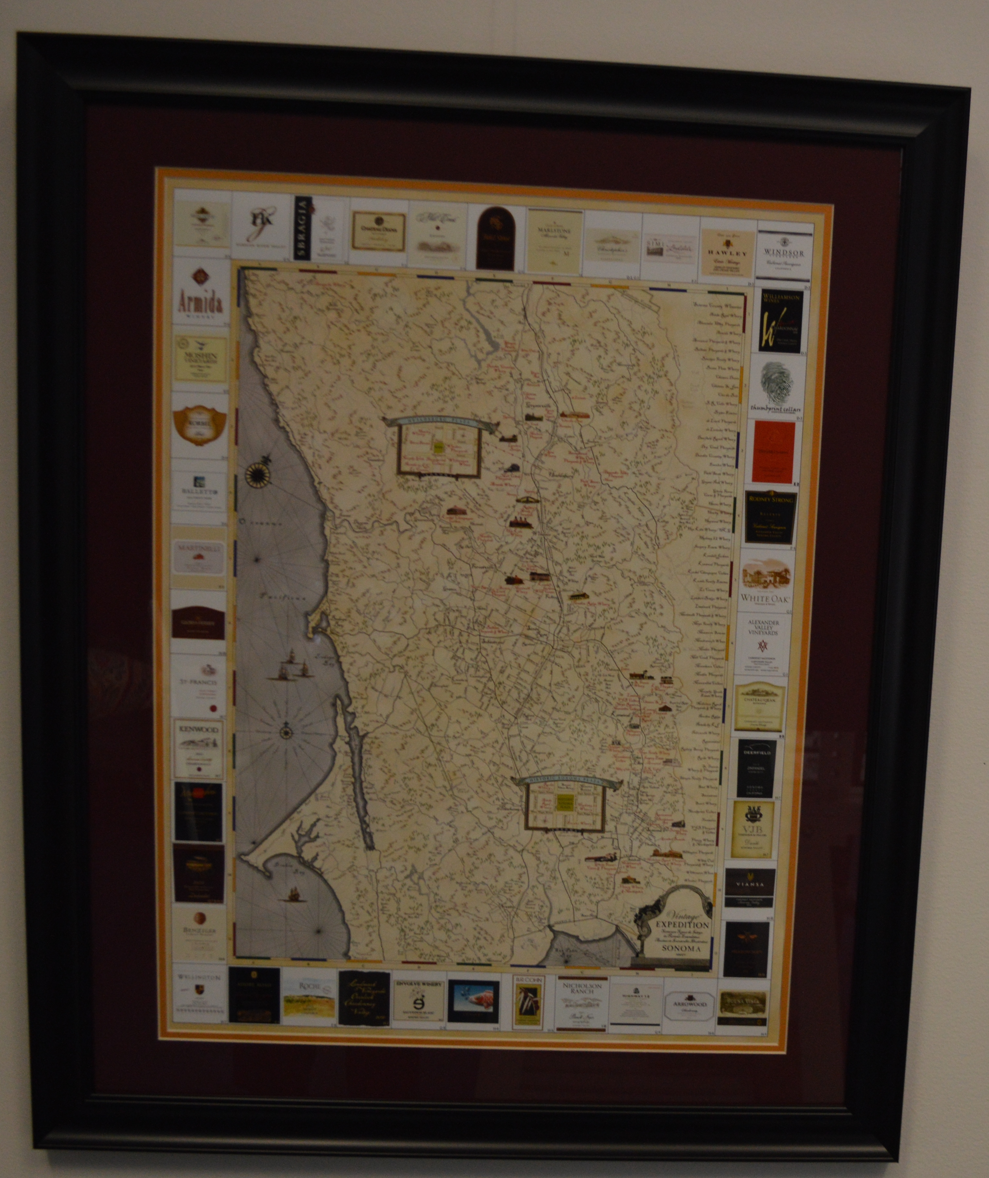 18 5x25 Sonoma Winery Map Poster Print Custom Framed And