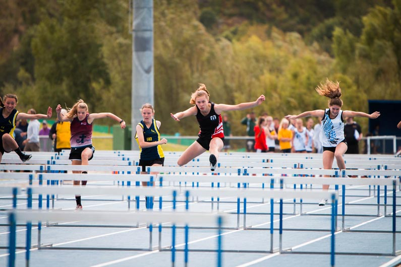 100m hurdles in action