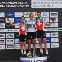 3.7.2016 Nové město na Moravě ČR /Sport/ Mountain bike/ horská kola / mistrovství světa/ ženy do 23 let foto CPA