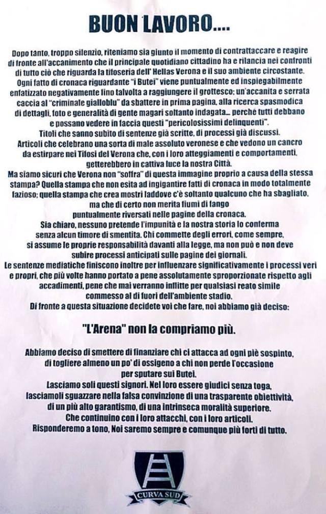 Comunicato Curva Sud Verona