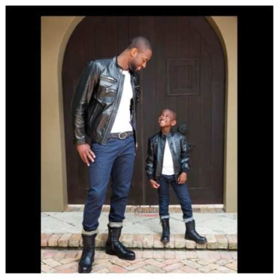 Dwyane Wade and son wear matching leather jacket/jeans outfits (photo)