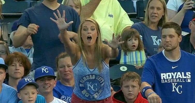 Kid steals hot blondes souvenir ball at Kansas City