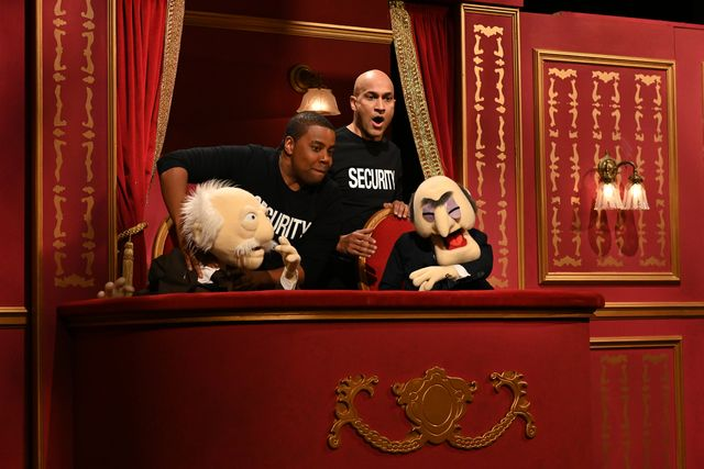 Keegan Michael-Kay and Kenan Thompson punching Muppets on SNL