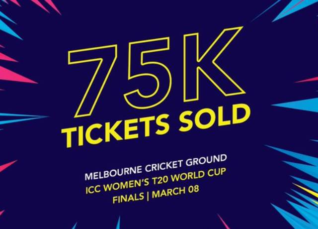 75,000 tickets already sold for INDW vs AUSW women's T20 World Cup final
