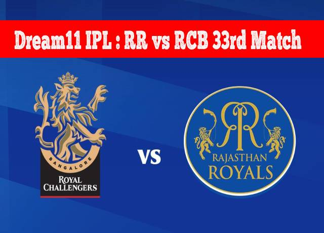 Dream11 IPL : RR vs RCB 33rd match live streaming & score
