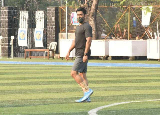 MS Dhoni came down to play football wearing a mask