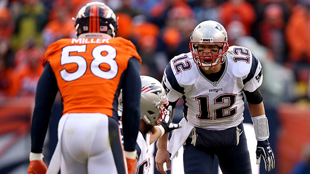 Von Miller will try to bother Tom Brady in the pocket.