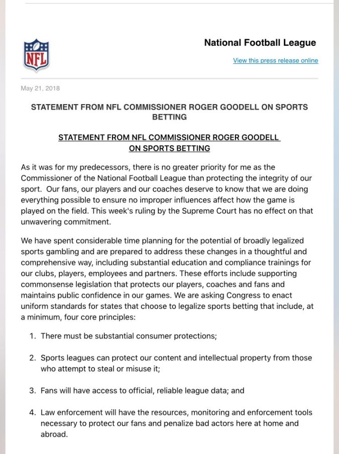 NFL statement on sports betting