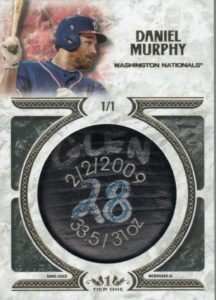 2016 topps tier one Daniel Murphy Bat KNob Card