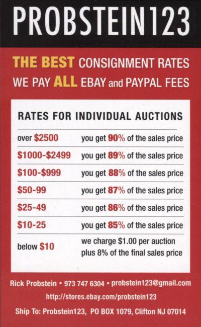 Rick Probstein123 Ebay Consignment Rates Sports Card Radio