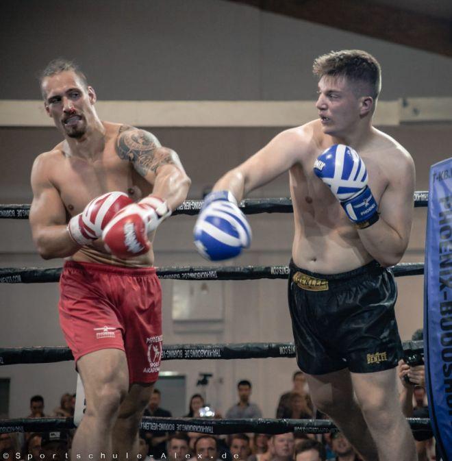 Dimitrios Maniatis von der Sportschule Alex, kämpft im Kickboxen K1 bei der Phönix Fight Night 2017, Gala WKU Foto: Marcela Kamanis