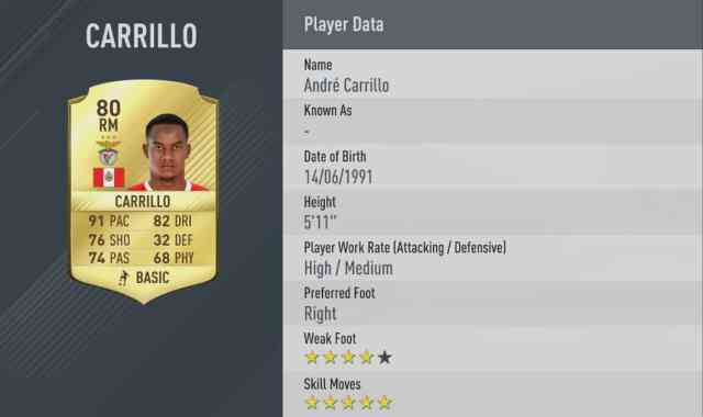 fifa 17 5 star skillers carrillo