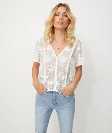 EMBROIDERED MESH BOHO TOP