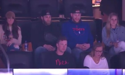 Bryce Harper Stole Mike Trout's Best Friend, Spotted at Sixers Game With Carson Wentz