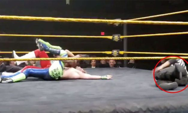 WWE  Ref Snaps His Leg During Match And Still Makes The 3 Count