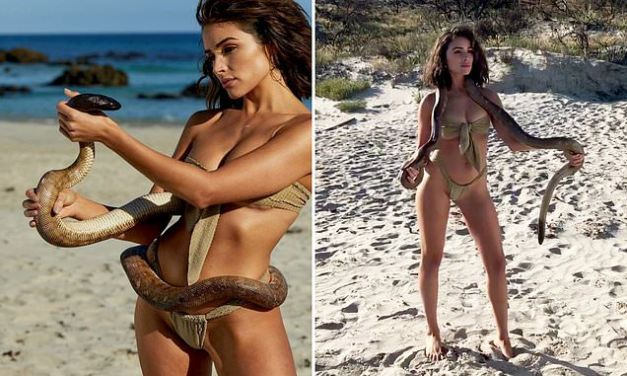 Olivia Culpo Poses Topless With Deadly Python For SI Swimsuit Issue