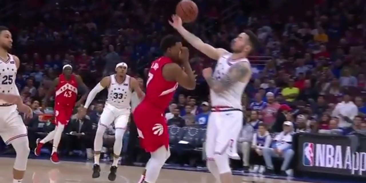 Kyle Lowry Complained to the Referees for a Foul Call on Himself