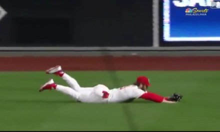 Bryce Harper Flashes Some Leather to Make a Game Saving Diving Catch